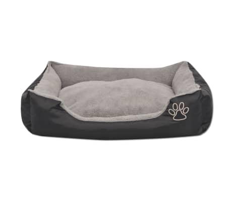 vidaXL suņu gulta ar polsterētu spilvenu, XL izmērs, melna[3/5]