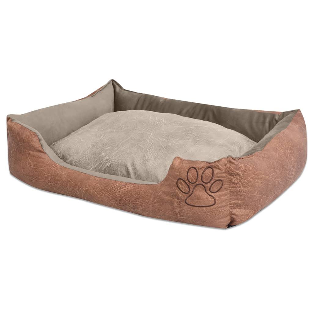 vidaXL Κρεβάτι Σκύλου Μπεζ Μέγεθος XXL από Συνθετικό Δέρμα με Μαξιλάρι