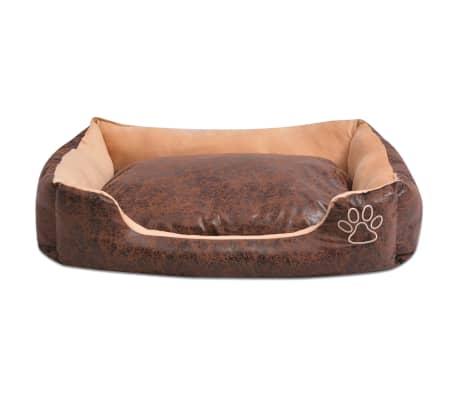 acheter vidaxl lit pour chiens avec coussin cuir artificiel pu taille xl marron pas cher. Black Bedroom Furniture Sets. Home Design Ideas