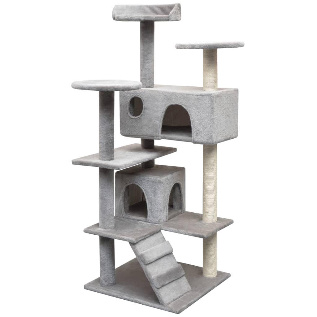 vidaXL Škrabadlo pro kočky se sisalovými sloupky, 125 cm, šedá