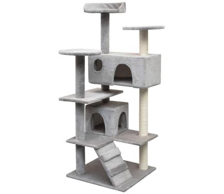 vidaXL Draskyklė katėms su stovais iš sizalio, 125 cm, pilka[1/4]
