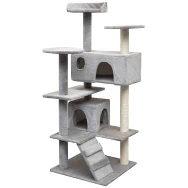 vidaXL Ansamblu pentru pisici cu funie de sisal, 125 cm, gri[1/4]