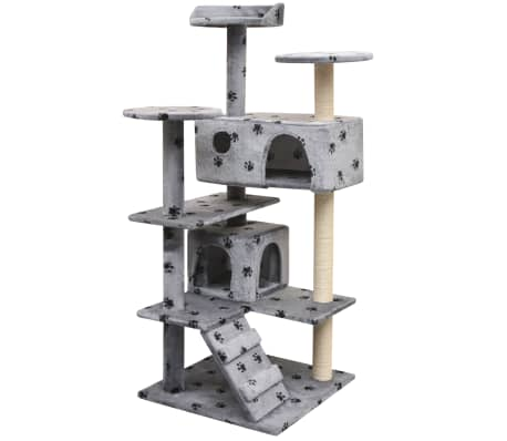 vidaXL Cat Tree with Sisal Scratching Posts 125 cm Paw Prints Grey