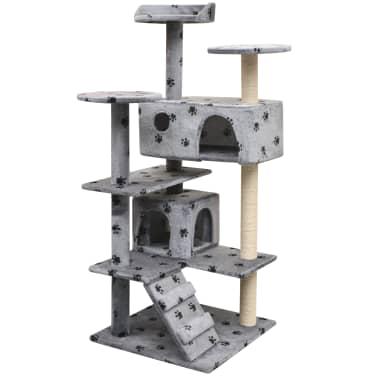 vidaXL szürke macskabútor mancsnyomokkal és szizál kaparófákkal 125 cm[1/4]