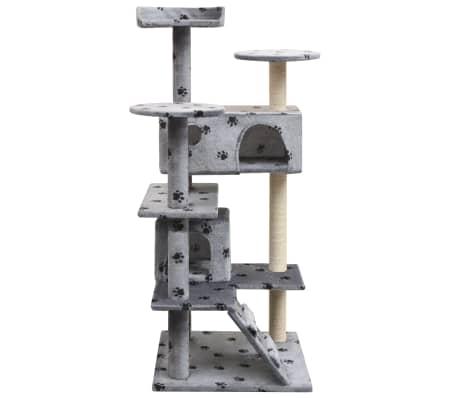vidaXL szürke macskabútor mancsnyomokkal és szizál kaparófákkal 125 cm[2/4]