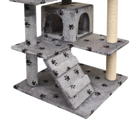 vidaXL Ansamblu pisici cu funie de sisal, 125 cm, imprimeu lăbuțe, gri[3/4]