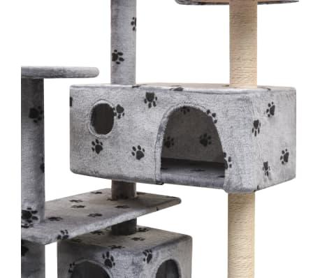 vidaXL szürke macskabútor mancsnyomokkal és szizál kaparófákkal 125 cm[4/4]