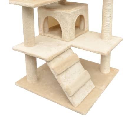 vidaXL Arbre à chat avec griffoirs en sisal 125 cm Beige[4/4]