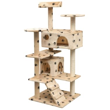 vidaXL Cat Tree with Sisal Scratching Posts 125 cm Paw Prints Beige[1/4]