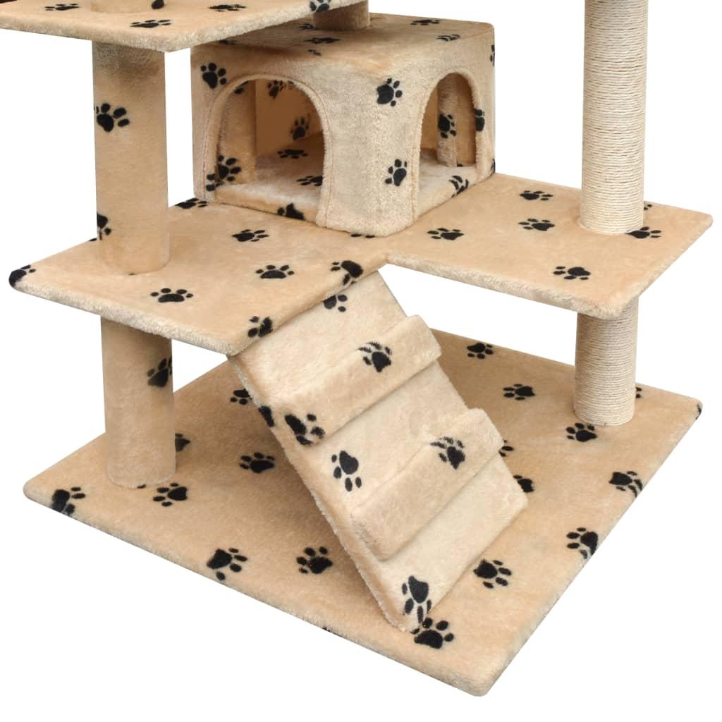 vidaXL Škrabadlo pro kočky sisalové sloupky 125cm béžová potisk tlapek