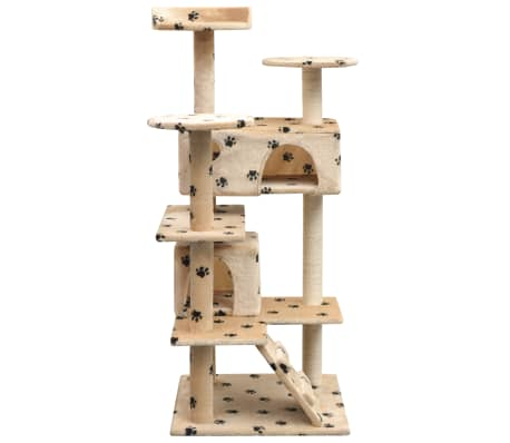 vidaXL Škrabadlo pro kočky sisalové sloupky 125cm béžová potisk tlapek[2/4]
