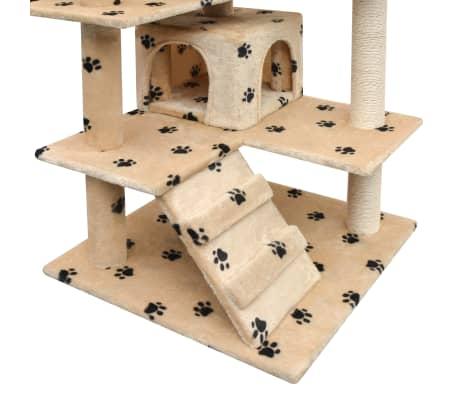 vidaXL Škrabadlo pro kočky sisalové sloupky 125cm béžová potisk tlapek[3/4]