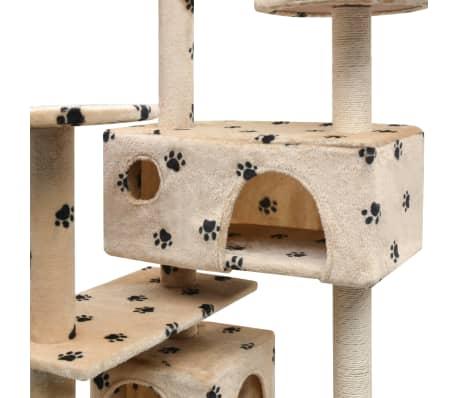 vidaXL Škrabadlo pro kočky sisalové sloupky 125cm béžová potisk tlapek[4/4]