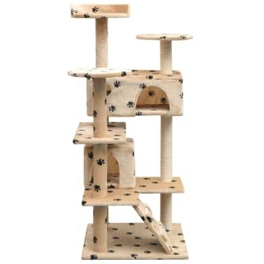 vidaXL kaķu māja, stabi nagu asināšanai, 125 cm, bēša, ķepu apdruka[2/4]
