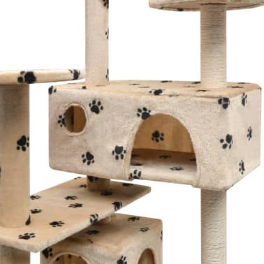 vidaXL Cat Tree with Sisal Scratching Posts 125 cm Paw Prints Beige[4/4]