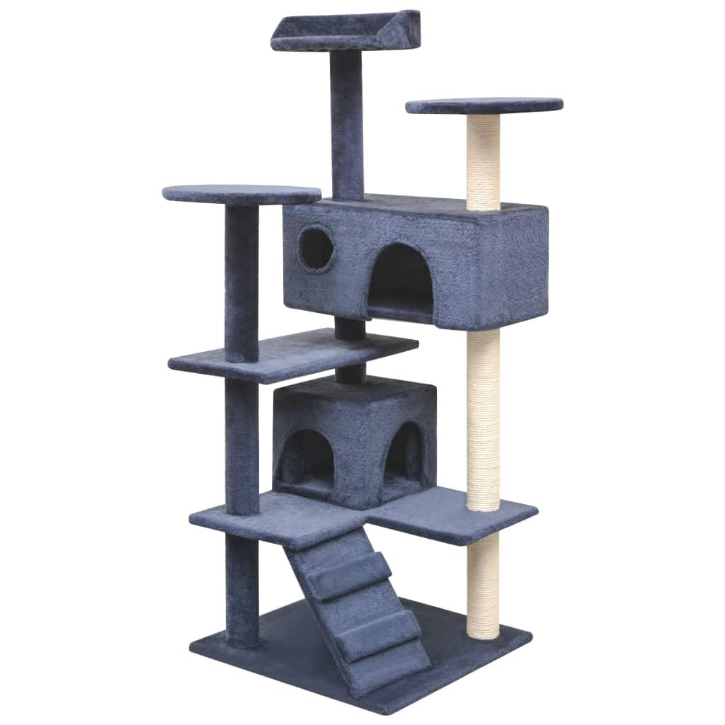 vidaXL Škrabadlo pro kočky se sisalovými sloupky, 125 cm, tmavě modrá