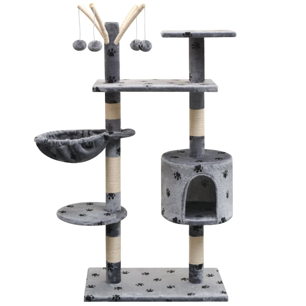 vidaXL Ansamblu pisici, funie de sisal, 125 cm, imprimeu lăbuțe, gri poza vidaxl.ro