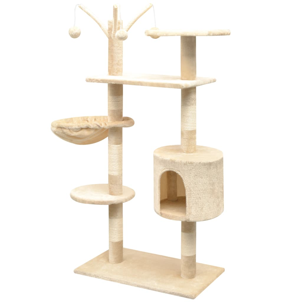 vidaXL Škrabadlo pro kočky se sisalovými sloupky, 125 cm, béžová