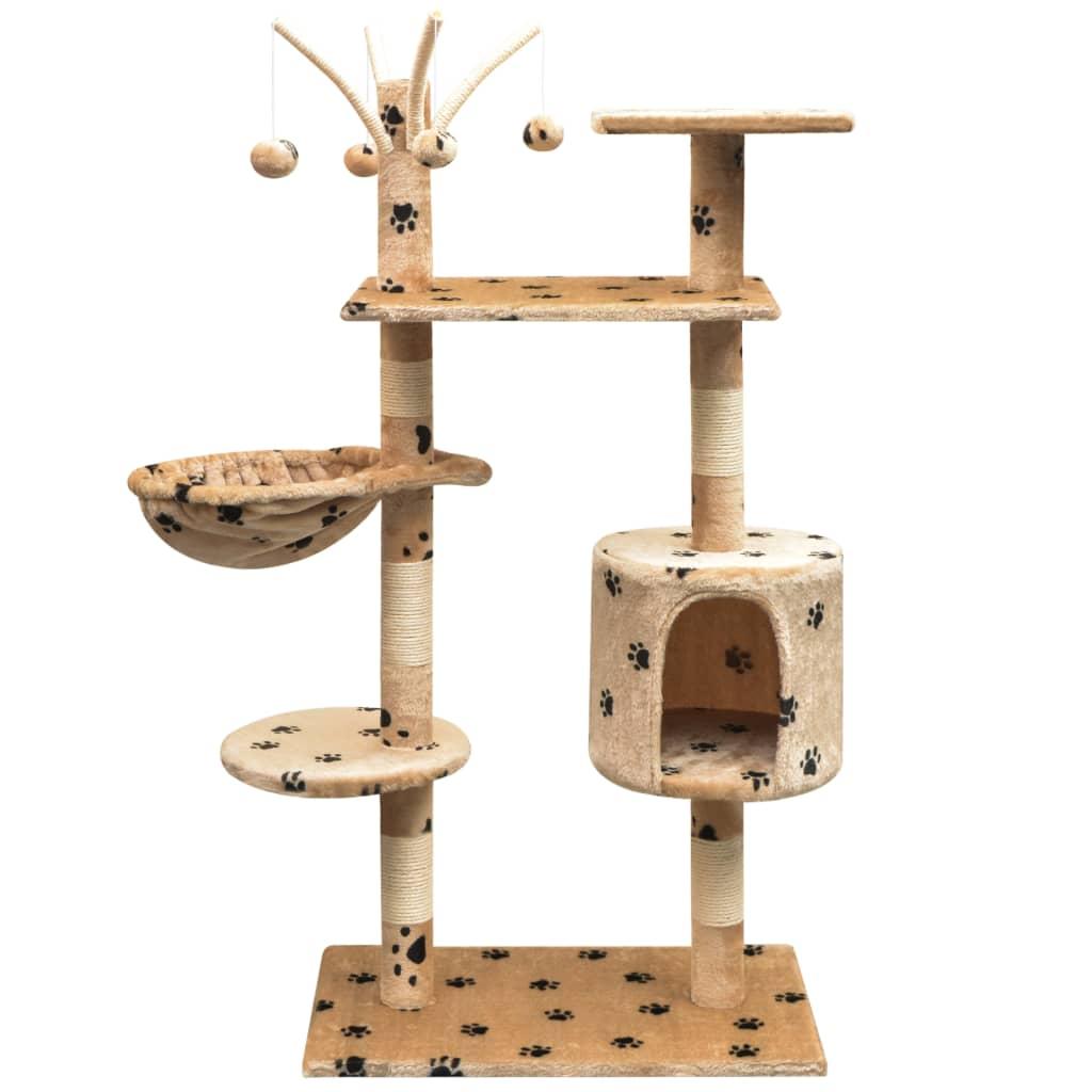 vidaXL Ansamblu pisici, funie de sisal, 125 cm, imprimeu lăbuțe, bej poza vidaxl.ro