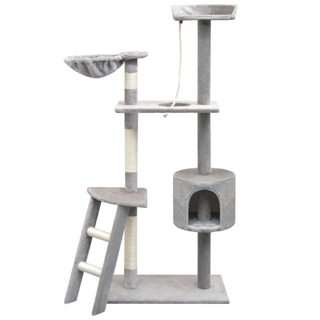 vidaXL szürke macskabútor szizál kaparófákkal 150 cm
