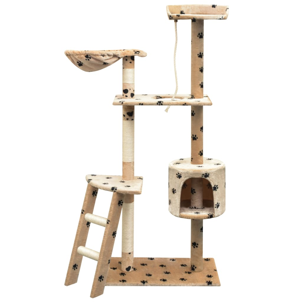 vidaXL Ansamblu pisici cu funie sisal, 150 cm, imprimeu lăbuțe, bej imagine vidaxl.ro