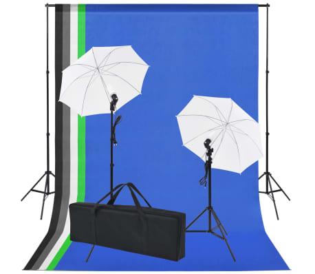 vidaXL fotostudieudstyr: 5 farvede kulisser og 2 paraplyer