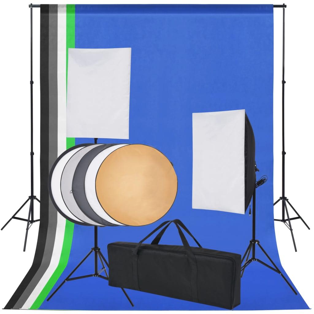 Fotostuudio komplekt viie tausta ja kahe softboxi..