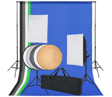 vidaXL Fotostudio set met 5 gekleurde achtergronden & 2 softboxen[1/9]