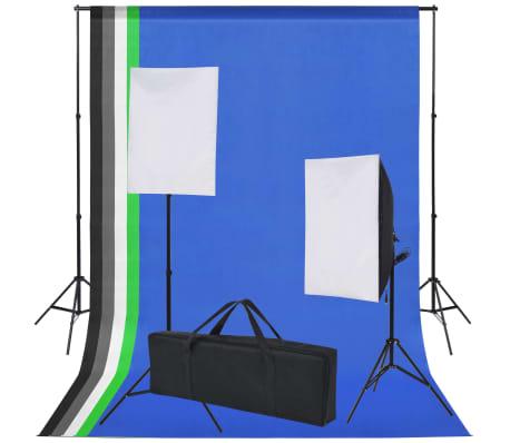 vidaXL Kit de studio 5 toiles de fond colorées et 2 boîtes à lumière[2/9]