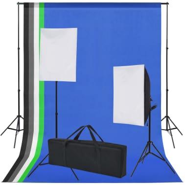 vidaXL Fotostudio set met 5 gekleurde achtergronden & 2 softboxen[2/9]