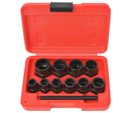 vidaXL 11 Piece Bolt Extractor Set for Damaged Bolts and Nuts Steel