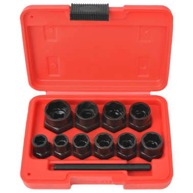 vidaXL 11 Piece Bolt Extractor Set for Damaged Bolts and Nuts Steel[1/4]