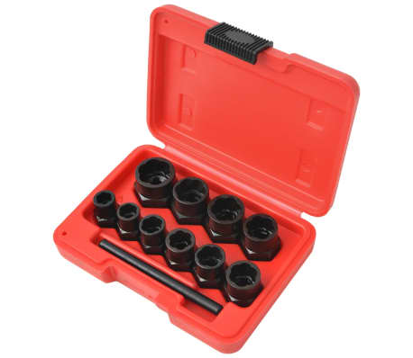 vidaXL 11 Piece Bolt Extractor Set for Damaged Bolts and Nuts Steel[2/4]