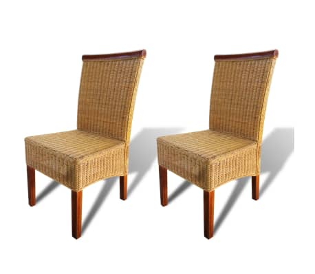 vidaXL Dining Chairs 2 pcs Rattan Brown[2/6]