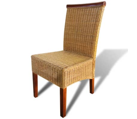 vidaXL Dining Chairs 2 pcs Rattan Brown[3/6]