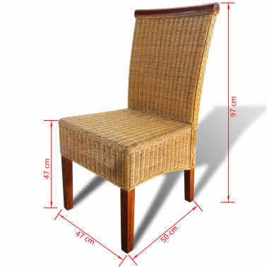 vidaXL Dining Chairs 2 pcs Rattan Brown[6/6]