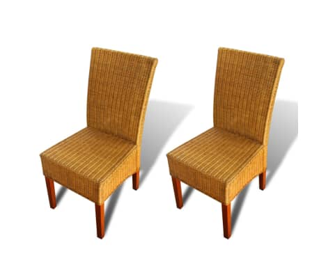 vidaXL Dining Chairs 2 pcs Rattan Brown[2/7]
