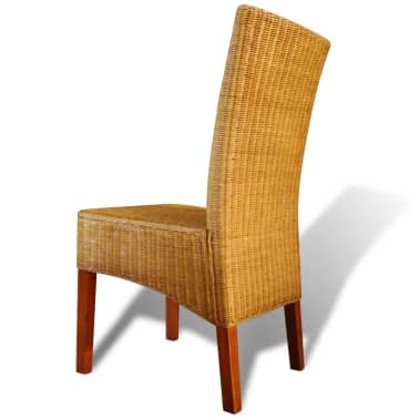 vidaXL Dining Chairs 2 pcs Rattan Brown[3/7]