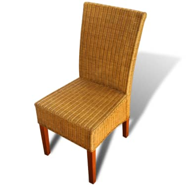 vidaXL Dining Chairs 2 pcs Rattan Brown[4/7]