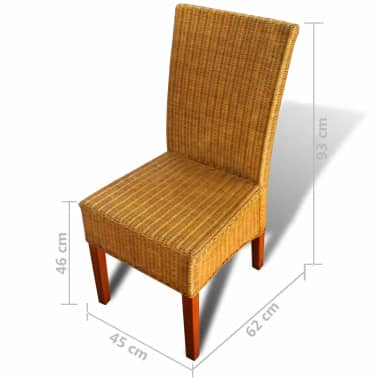 vidaXL Dining Chairs 2 pcs Rattan Brown[7/7]
