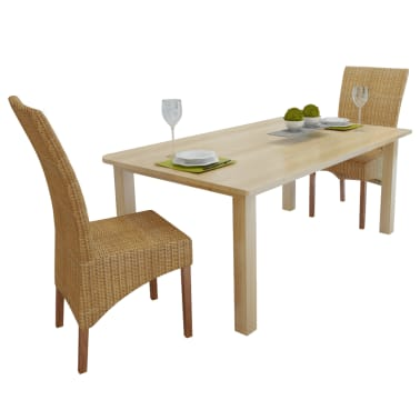 vidaXL Dining Chairs 2 pcs Rattan Brown[1/7]