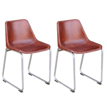 Vidaxl set 2 sedie da pranzo vera pelle marrone for Sedie in pelle marrone