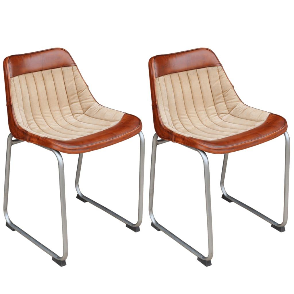 vidaXL spisebordsstole 2 stk. i ægte læder og kanvas brun og beige