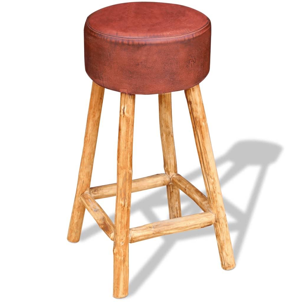 Afbeelding van vidaXL Barkruk echt leder bruin en natuurlijk hout 35x78 cm