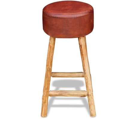vidaXL Baro kėdė, tikra oda, ruda ir natūrali sp., 35x78 cm[2/4]