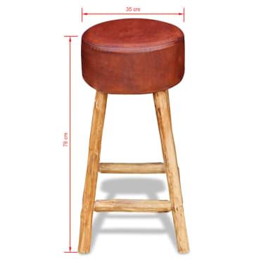 vidaXL Baro kėdė, tikra oda, ruda ir natūrali sp., 35x78 cm[4/4]