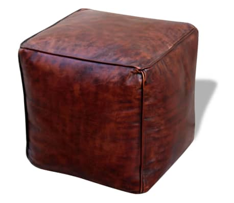 vidaXL Pufas, tikra oda, kvadratinis, rudas, 45x45x45 cm[1/3]