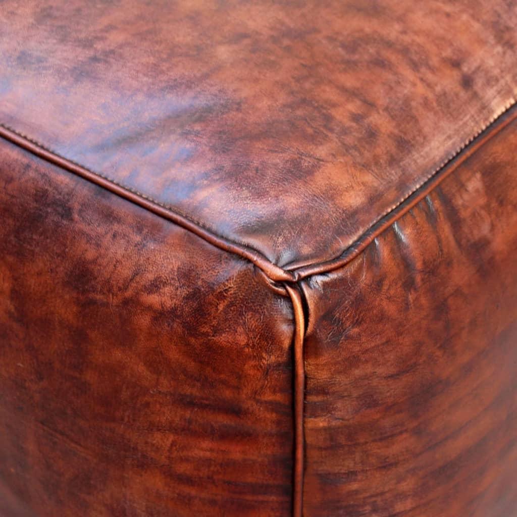 999243426 Sitz-Pouf Echtleder Quadratisch Braun 45x45x45 cm