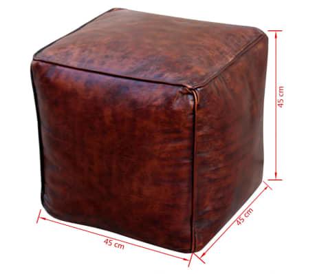 vidaXL Pufas, tikra oda, kvadratinis, rudas, 45x45x45 cm[3/3]