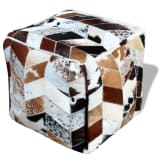 vidaXL Sitz-Pouf Echtleder Quadratisch Mehrfarbig 45x45x45 cm